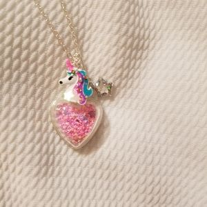 Unicorn shakey glitter necklace.
